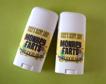 Monkey Farts - Aluminum Free Deodorant - Banana Strawberry Bubblegum - teen fragrance - Odor fighting - Bath and Body - Personal Care