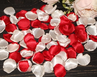 Red and White rose petals red white wedding flower petals red flower girl satin fabric flowers birthday party decor wedding photo props