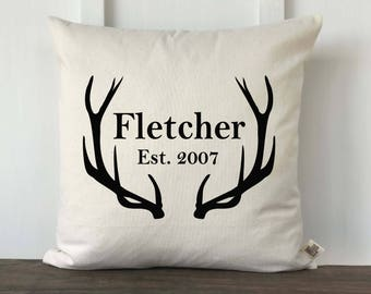 Farmhouse Pillow Cover, Personalized Pillow, Housewarming Gift,Wedding Gift, Anniversary Gift, Decorative Pillow, Antler Name Gray or Black