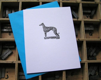 Small letterpress note card whippet greyhound dog