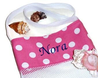 Monogram Beach Tote, Personalized Shell Collecting Bag, Mesh Shell Bag, Girls Sand Beach Bag, Shell Tote, Pink Polka Dot, Gift For Girls