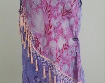 Purple Fuscia flapper dress swarovski beads