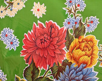 46x84 Tablecloth in Flowered Pattern on Green