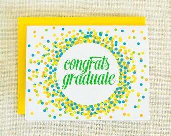 Graduation Card, Congratulations, Confetti, Celebration, Graduate, Congrats Graduate, Class of 2015, Grad, Graduation, Graduation Party
