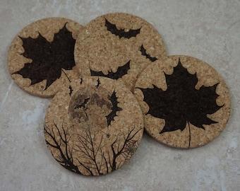 Autumn Leaves Coaster Set ~ Halloween Coaster Set ~ Halloween Bats ~ Laser Engraved Cork Coasters