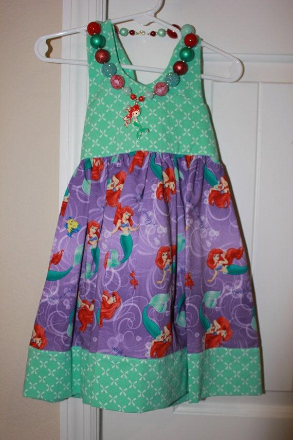 Disney Ariel Dress, Little Mermaid Dress, Handmade Dress, Baby Dress, Birthday Dress, Toddler Dress, Disney Princess Dress,