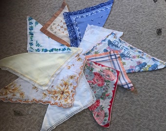 Collection of 10 vintage hankies / handkerchiefs in assorted colors, styles, and sizes. #930