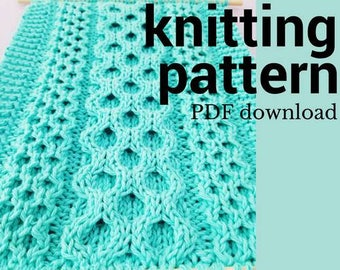 Honeycomb Cable Knitting Pattern, Easy Knit Cable Pattern, Cable Sampler Pattern, DIY Knit Wall Hanging, Written & Charted Pattern, PDF
