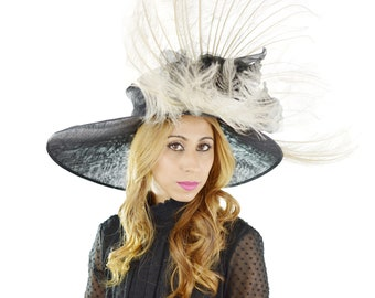 Black & Cream Large Feather Hat for Kentucky Derby, Weddings and Ascot