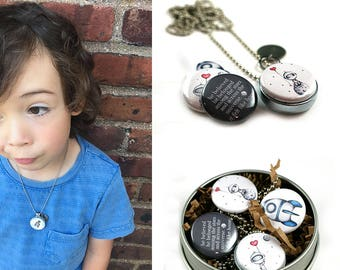 Locket for Grandson • Astronaut Jewelry • Astronaut Necklace • Magnetic Locket • Switchable Lids • Spaceship • Outerspace • Sci Fi Gift