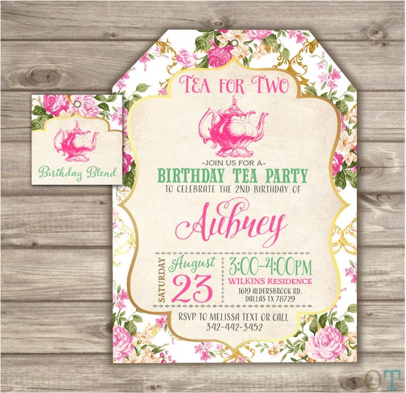Tea For Two 2nd Birthday Invitations Second Birthday Tea Party