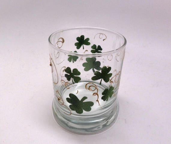 Hand Painted Saint Patrick's Day Candle Holder with Green Clover and Golden Swirls