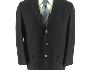 Vintage 50s Nubby Fleck Sport Coat 42 Jacket USA Union Made Navy Blue Striped [H01E_2-1]