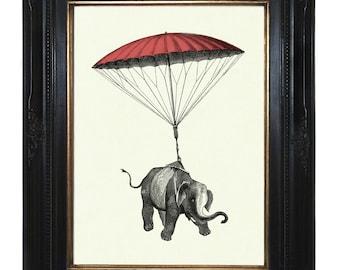 Elephant Art Print Pink Parachute Victorian Steampunk Natural History Art Print Nursery Circus