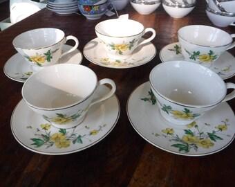 5 Sets Vintage Edwin Knowles Buttercup Tea Coffee Cup Tea Cup Saucer