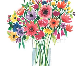 Watercolor flowers in a vase/watercolor bouquet/ floral wall art/ spring floral/ summer floral/ gifts for her/ Mothers day gift