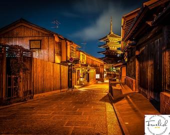 "Historic Japanese Vista - ""Yasaka Pagoda Kyoto"" Fine Art Photograph (9.5"" x 13.25"" Print on 14"" x 18"" Board) Gion District"