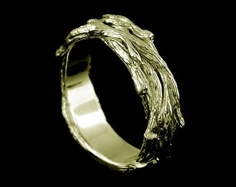 Unique Men's Band, Tree Bark Men's Wedding Band, Nature Inspired Men's  Ring, Engraved Men's Ring, Hand Crafted Wedding Ring 7mm