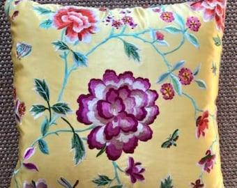 Yellow Silk Floral Pillow