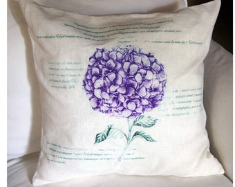 French Linen Pillow. Farmhouse Pillow Cover. Purple Hydrangea Pillow.  French Country Pillow. Shabby Chic Pillow.