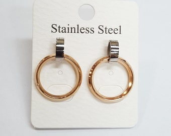 Men / women Earrings Jet  stud earrings - Stainless Steel