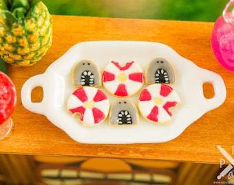 Miniature Shark Attack Cookies - Half Dozen - 1:12 Dollhouse Miniature