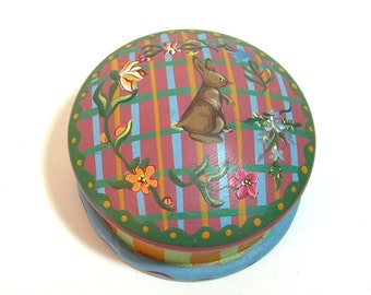 Painted Wood Trinket Box With Rabbit And Flowers