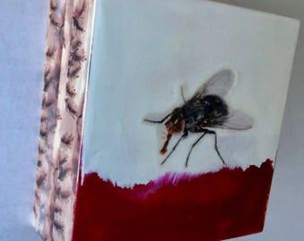 original encaustic painting- fly
