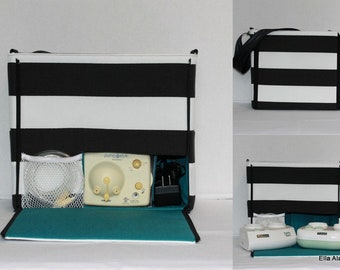 Ready to ship* XS Ella style Breast Pump Bag in Black stripe print with zipper top closure