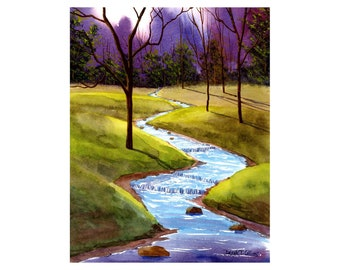 Watercolor landscape Painting PRINT gentle stream Brook trees creek art reproduction  8x10 GICLEE
