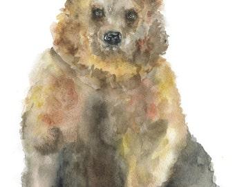 Brown Bear Watercolor Painting - 5 x 7 - Giclee Print - Nursery Art- Woodland Animal