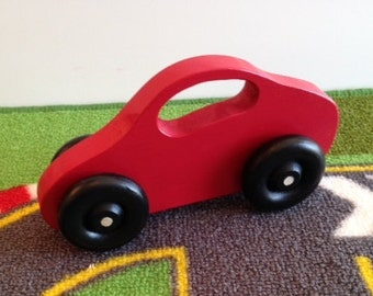 Toy Red Car - Handcrafted Wooden Red Toy Car - Baby's First Toy Fits Small Hands - Toy Car with Window Handle - Wooden Red Car with handle