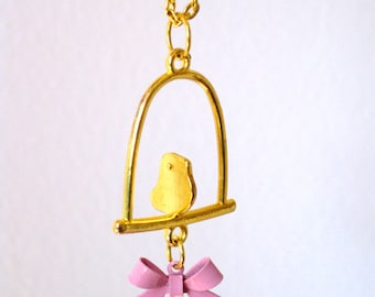 Whimsical Gold Bird Charm Necklace