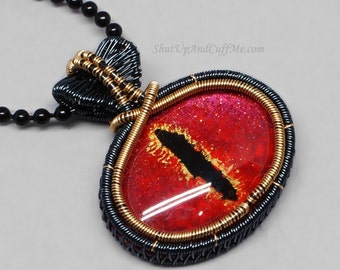 Red Dragon Eye Necklace, Dragon Eye Pendant, Red and Gold Dragon Eye, Black and Gold Wire Wrapped Eye
