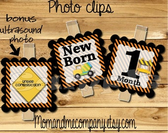 Baby Boy First year photo clip banner newborn to 12 months Construction birthday month banner first year banner Dump truck RIBBON INCLUDED