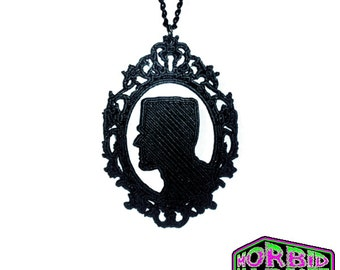 Frankenstein's Monster Cameo Silhouette Pendant Black Chain Necklace *MORBID MARKET EXCLUSIVE*Multi Colour Options*