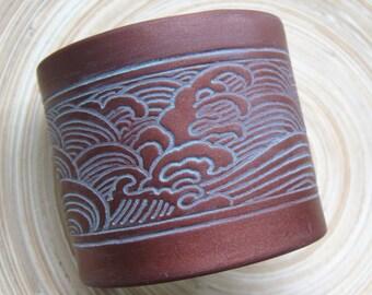 SALE Japanese Wave Cuff Bracelet, Dark Copper, Bronze Wide Cuff Bracelet, Handmade Jewelry by theshagbag on Etsy