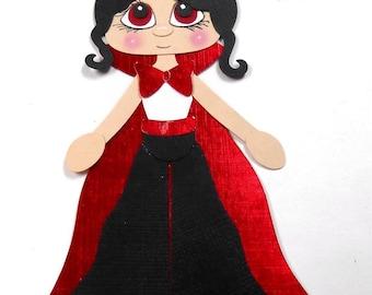 Elite4u Kam Halloween Countess Dracula Card Topper Premade Paper Piecing Die Cut for SCRAPBOOK Page Album Layout