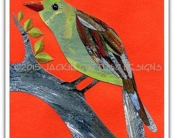 "Bird collage art print, Giclee 8 x 10"", Bird painting print, Acrylic bird art, Woodland nursery art, Forest animal nursery, Kids animal art"