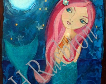 Mermaid Art- Children's Art- Mermaid Decor- Mixed Media Art -Print Sizes 5x7 or 8x10   by HRushton