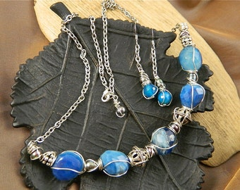 "Blue Agate Nugget and Sterling Silver Bali Bead,SALE- Silver Crescent Necklace and Earring Set, ""Blue Moon"""