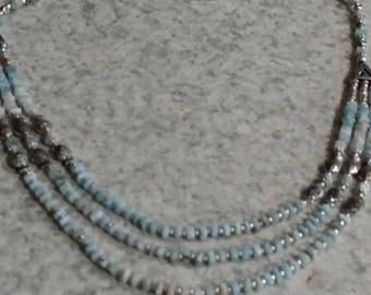 Three Strand Larimar Necklace