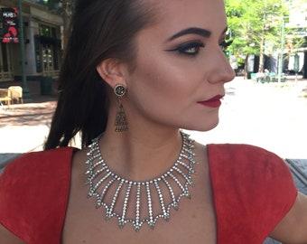 Rare Gorgeous Vintage 1950's Kramer Rhinestone Bib Collar Necklace