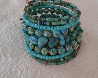 Southwestern Bohemian wrap bracelet with Turquoise nuggets.
