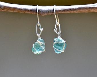 Ancient Roman Sea Glass Earrings Aquamarine Sea Glass Earrings Silver Jewelry Silver Earrings  Beach Glass Earrings Free Shipping Israel