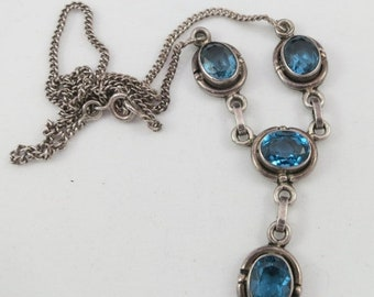 ON SALE Silver Sterling Lariat Necklace with Blue Topaz Gemstones