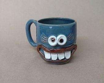 Mom Gift. Mugs for Her. Funny Unique Office Face Mug Blue. Ug Chug Tea Mug. Microwave Dishwasher Safe. 16 Ounce Coffee Stein for Her.