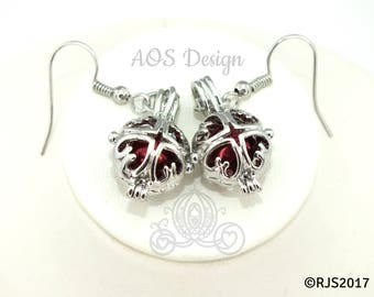 Pick A Pearl Cage Silver Plated Heart Square Red Faux Pearl Bead Earrings Scrollwork