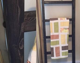 Dark Stained Blanket Ladder