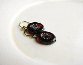 Red Czech Glass Earrings, Czech Glass Bead Earrings, Bead Earrings, Minimalist Earrings, Drop Earrings, Dangle Earrings